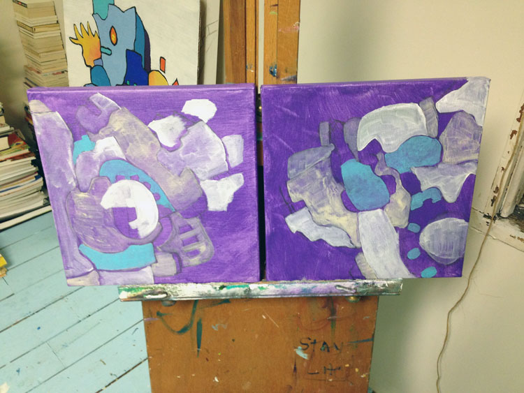 violet painting in progress by Andrew Conti