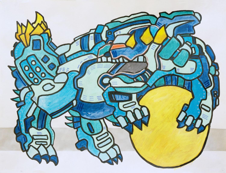 Blue Komainu 2 painting by Artist Andrew Conti